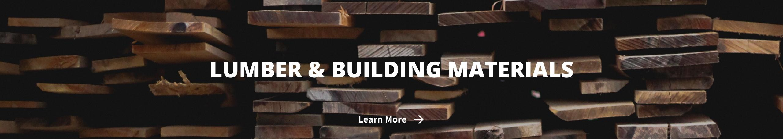 Lumber & Building Materials with lumber planks and Learn More link