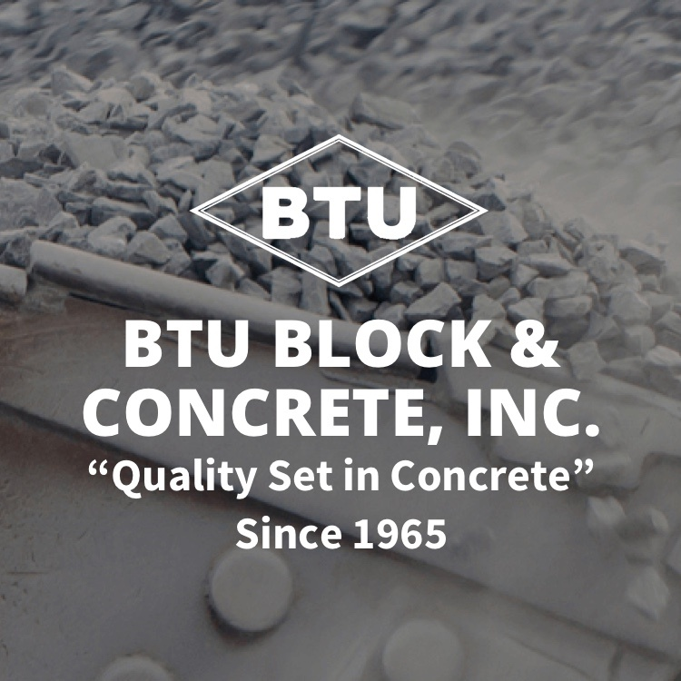 BTU Block & Concrete, Inc. logo with concrete in background
