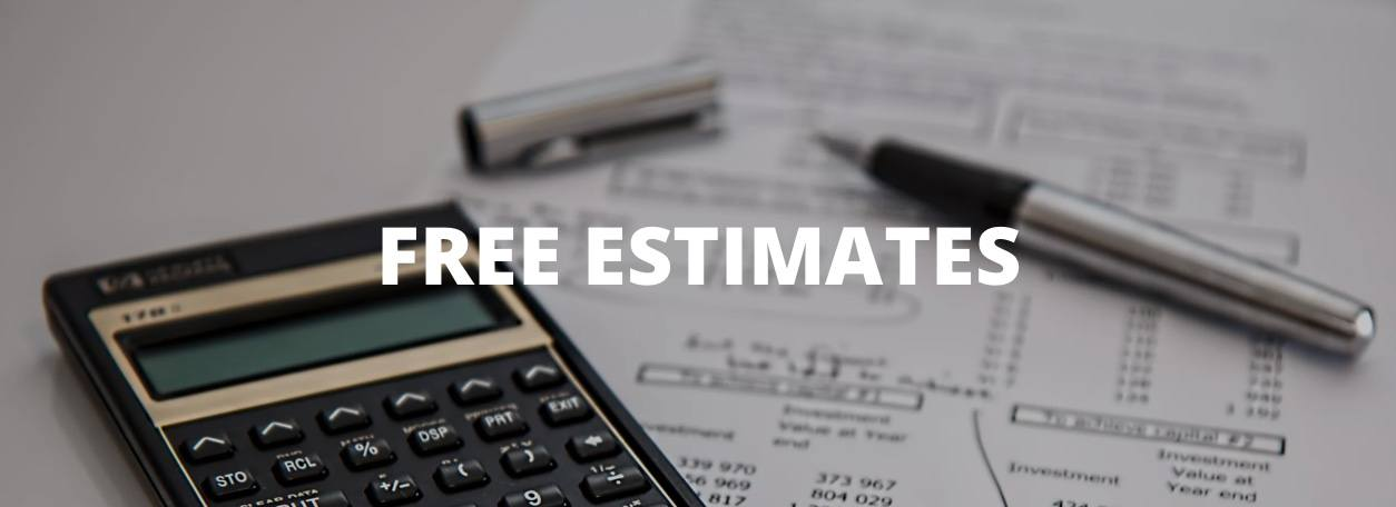 Free Estimates with papers, calculator in background