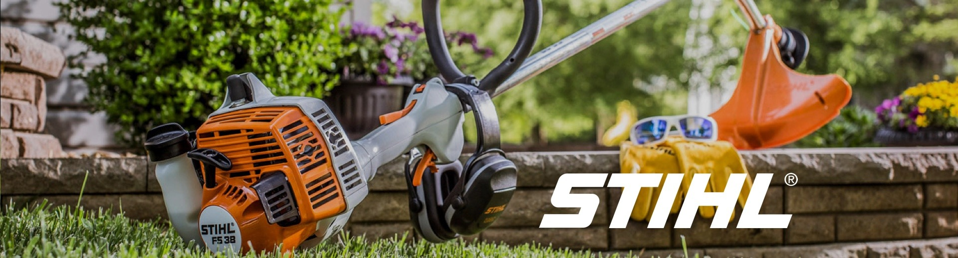Stihl logo and weed eater with gloves and sunglasses