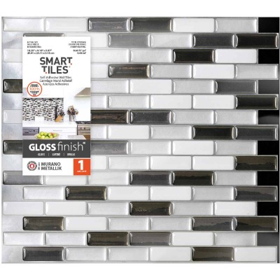 Smart Tiles 9.1 In. x 10.20 In. Glass-Like Plastic Backsplash Peel & Stick, Murano Metallik Mosaic