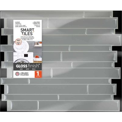 Smart Tiles 9.63 In. x 11.55 In. Glass-Like Plastic Backsplash Peel & Stick, Milano Platino Mosaic