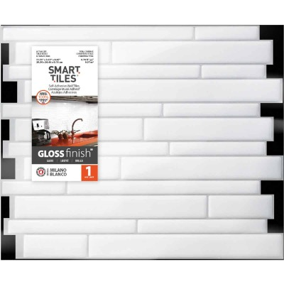 Smart Tiles 9.63 In. x 11.55 In. Glass-Like Plastic Backsplash Peel & Stick, Milano Blanco Mosaic