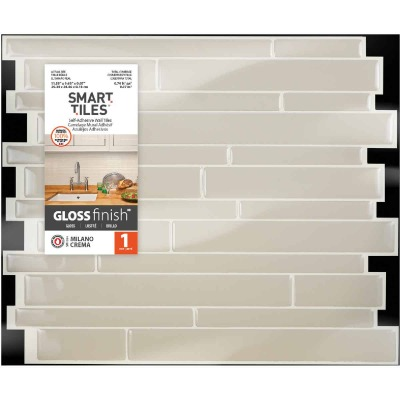 Smart Tiles 9.63 In. x 11.55 In. Glass-Like Plastic Backsplash Peel & Stick, Milano Crema Mosaic
