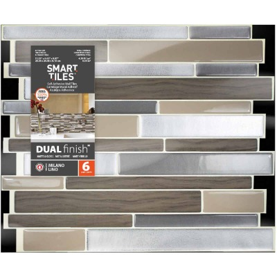 Smart Tiles 9.63 In. x 11.55 In. Glass-Like Plastic Backsplash Peel & Stick, Milano Lino Mosaic (6-Pack)