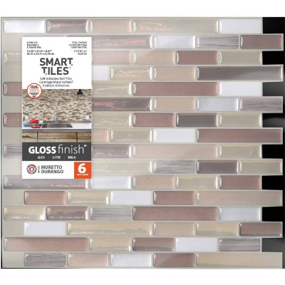 Smart Tiles 10.2 In. x 10.2 In. Glass-Like Plastic Backsplash Peel & Stick, Muretto Durango Mosaic (6-Pack)