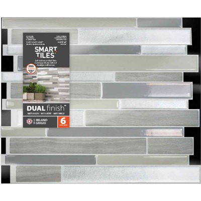Smart Tiles 9.63 In. x 11.55 In. Glass-Like Plastic Backsplash Peel & Stick, Milano Grigio Mosaic (6-Pack)