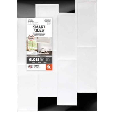 Smart Tiles 8.38 In. x 11.56 In. Glass-Like Plastic Backsplash Peel & Stick, Metro Blanco Subway Tile (6-Pack)