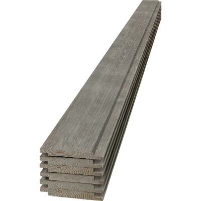 UFP-Edge 6 In. W x 6 Ft. L x 1 In. Thick Gray Wood Rustic Shiplap Board (6-Pack)