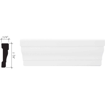 Inteplast Building Products 11/16 In. W. x 2-3/8 In. H. x 7 Ft. L. Crystal White Polystyrene Colonial Casing