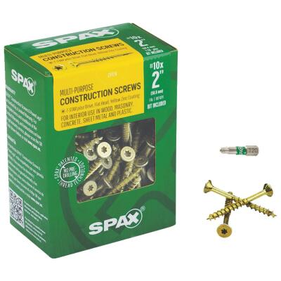 Spax #10 x 2 In. Flat Head Interior Multi-Material Construction Screw (1 Lb. Box)
