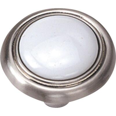 Laurey Satin Chrome & White Porcelain Accent 1-1/4 In. Cabinet Knob