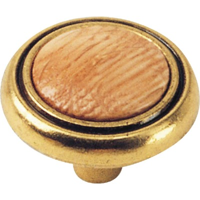 Laurey Oak & Light Brass 1-1/4 In. Cabinet Knob