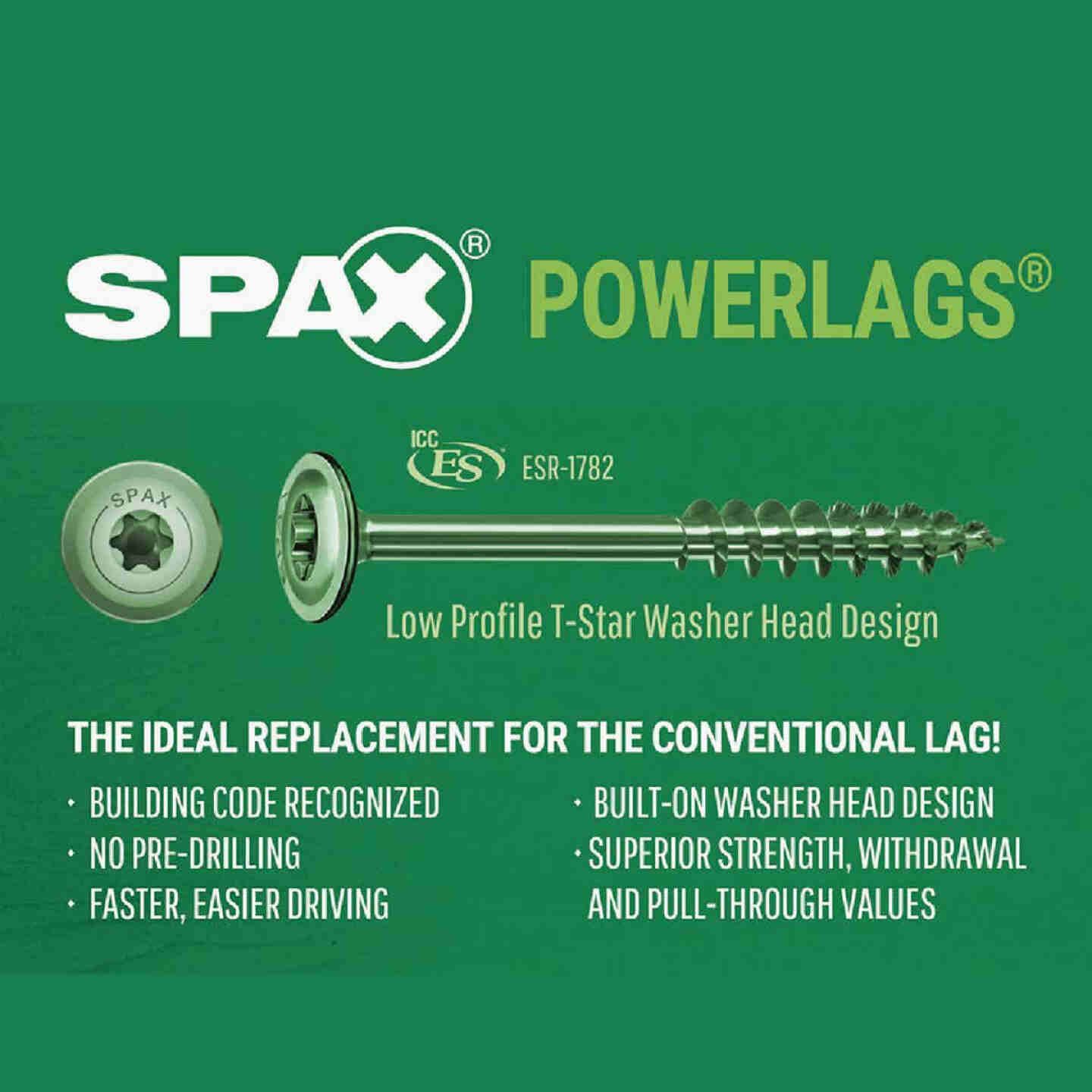 Spax PowerLags 5/16 In. x 5 In. Washer Head Exterior Structure Screw (12 Ct.) Image 4