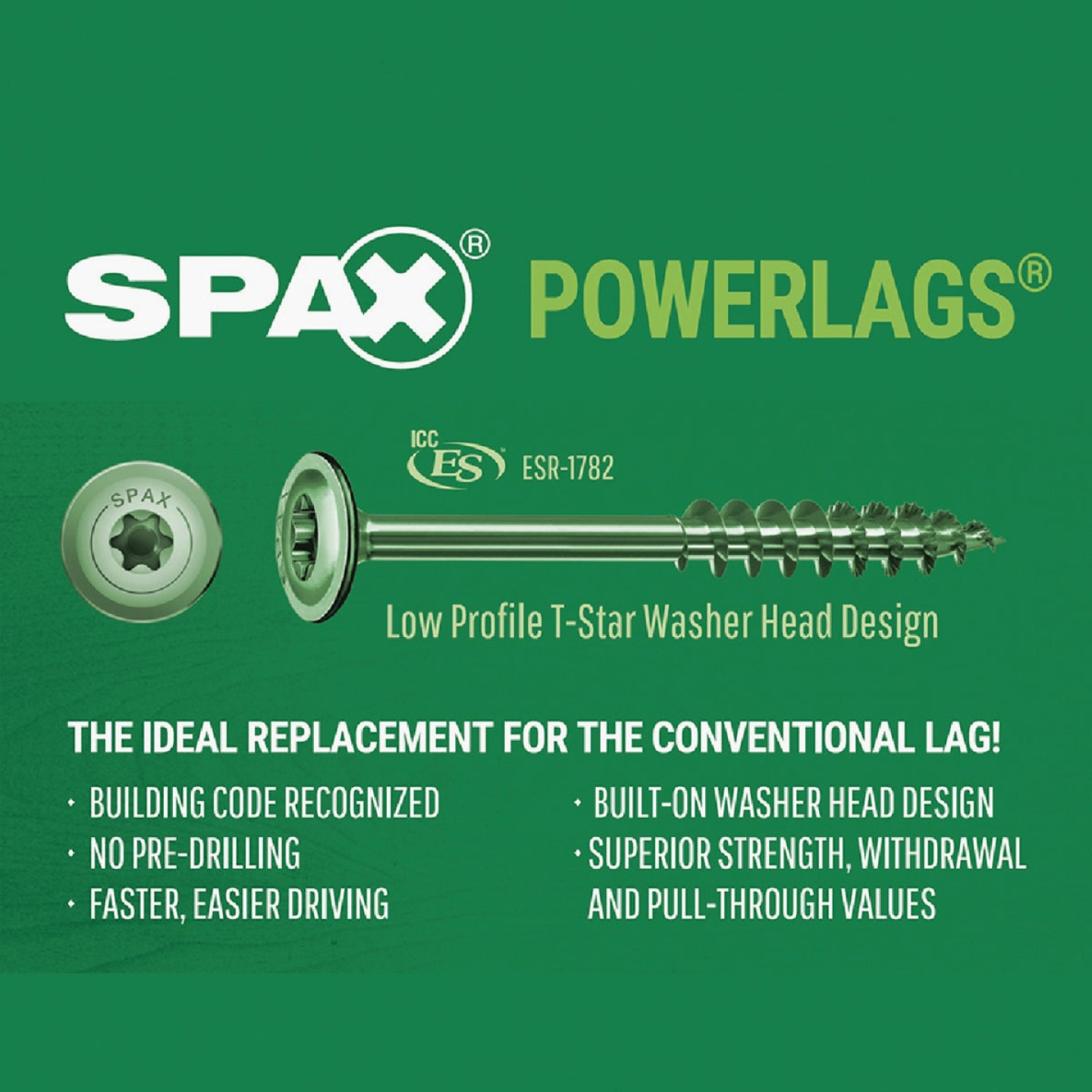 Spax PowerLags 5/16 In. x 6 In. Washer Head Exterior Structure Screw (12 Ct.) Image 4