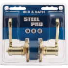 Steel Pro Polished Brass Scroll Privacy Door Lever  Image 2