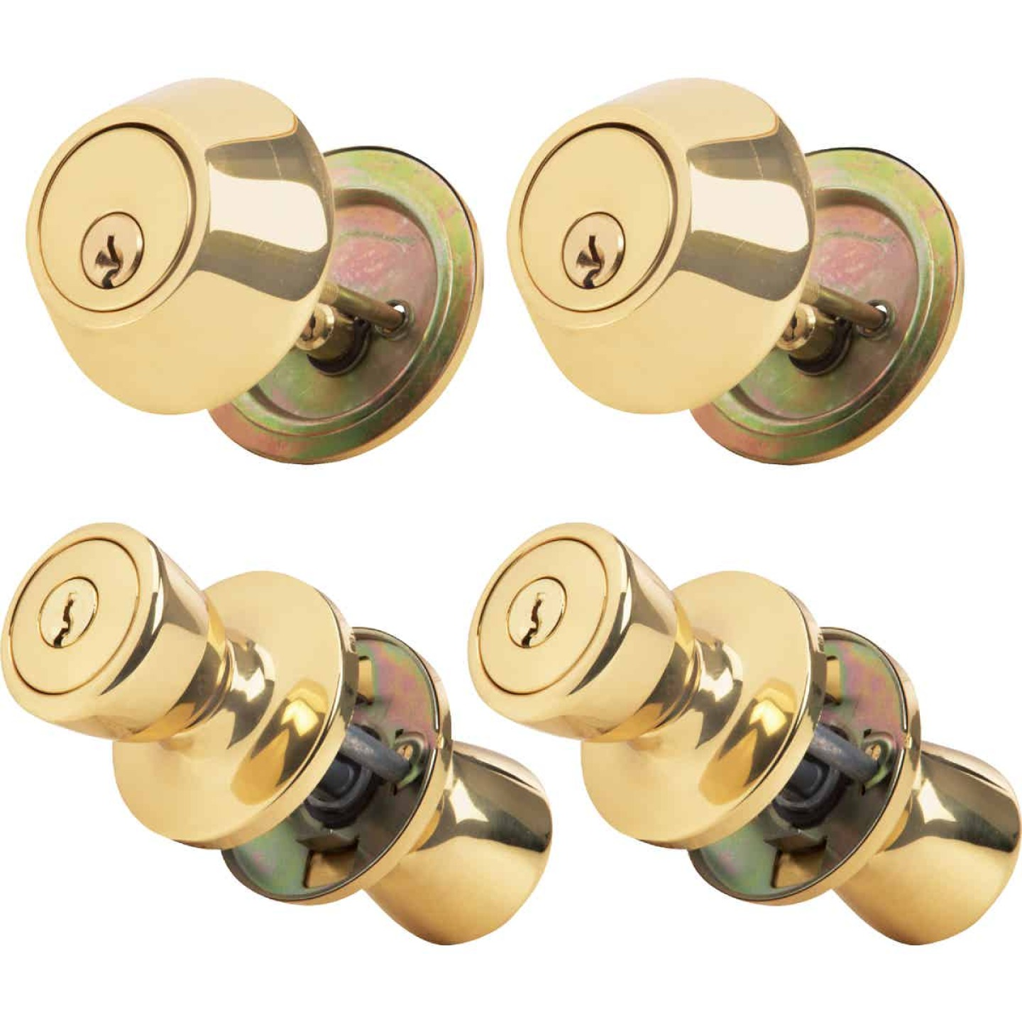 Steel Pro Polished Brass Deadbolt and Door Knob Combo Image 1