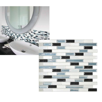 Smart Tiles Approx. 10 In. x 10 In. Glass-Like Vinyl Backsplash Peel & Stick, Muretto Brina Mosaic