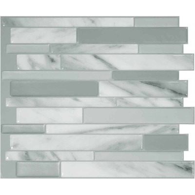 Smart Tiles Approx. 10 In. x 10 In. Glass-Like Vinyl Backsplash Peel & Stick, Milano Carrera Mosaic