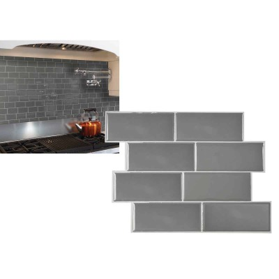 Smart Tiles 8.38 In. x 11.56 In. Glass-Like Plastic Backsplash Peel & Stick, Metro Grigio Subway Tile