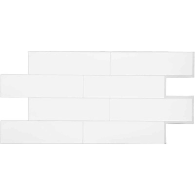 Smart Tiles Approx. 11 In. x 22 In. Glass-Like Vinyl Backsplash Peel & Stick, Oslo White Subway Tile (2-Pack)