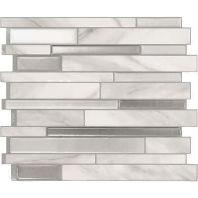 Smart Tiles Approx. 10 In. x 10 In. Glass-Like Vinyl Backsplash Peel & Stick, Milano Carrera Mosaic (4-Pack)