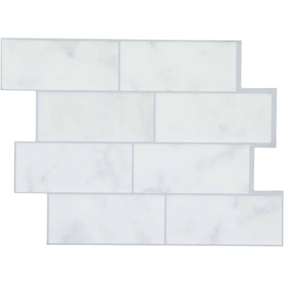 Smart Tiles Approx. 9 In. x 11 In. Glass-Like Vinyl Backsplash Peel & Stick, Metro Carrera Subway Tile (6-Pack)