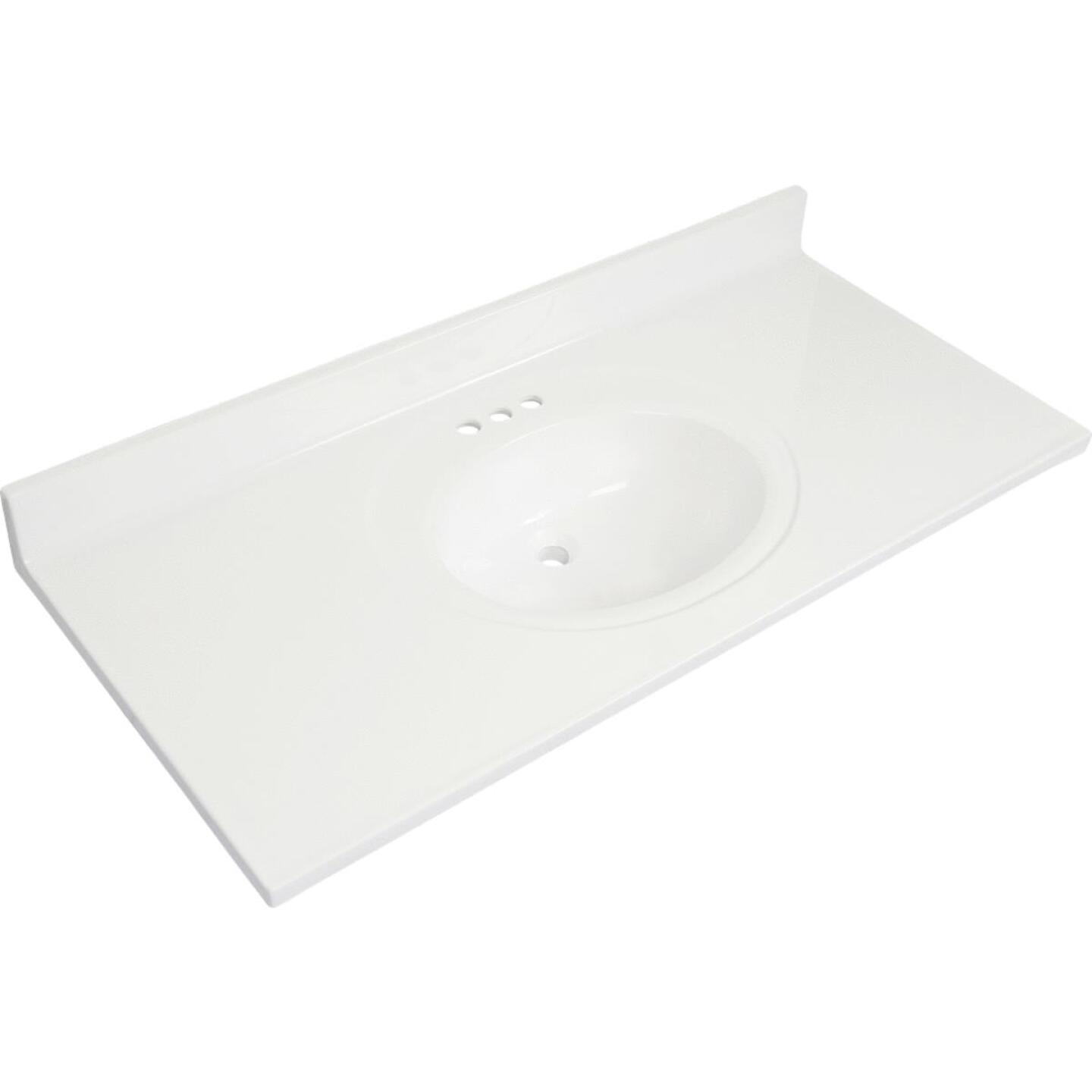 Modular Vanity Tops 49 In. W x 22 In. D Solid White Cultured Marble Vanity Top with Oval Bowl Image 1