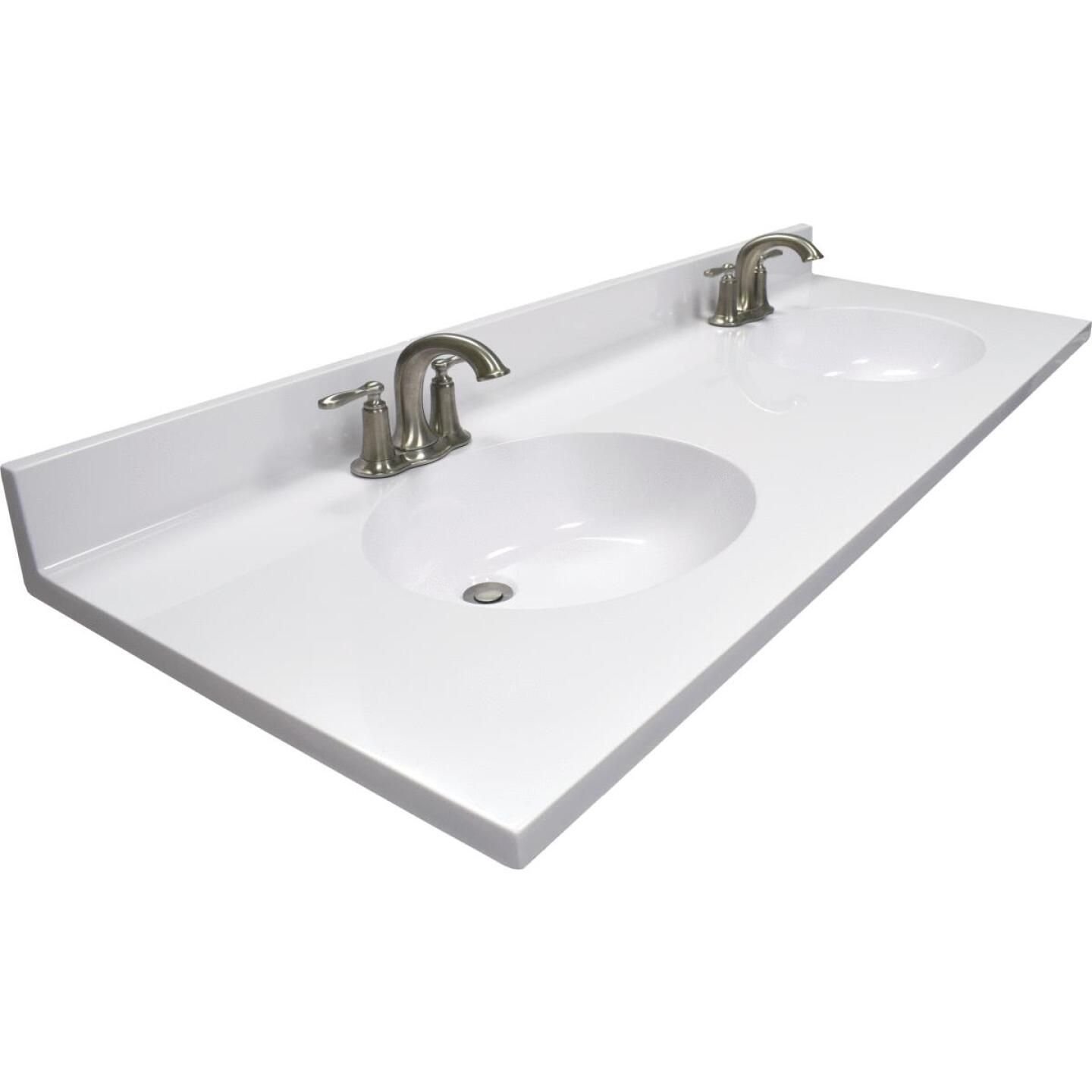 Modular Vanity Tops 61 In. W x 22 In. D Solid White Cultured Marble Vanity Top with Double Oval Bowl Image 1