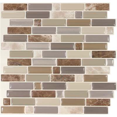 Smart Tiles Approx. 10 In. x 10 In. Glass-Like Vinyl Backsplash Peel & Stick, Crescendo Terra Mosaic (4-Pack)