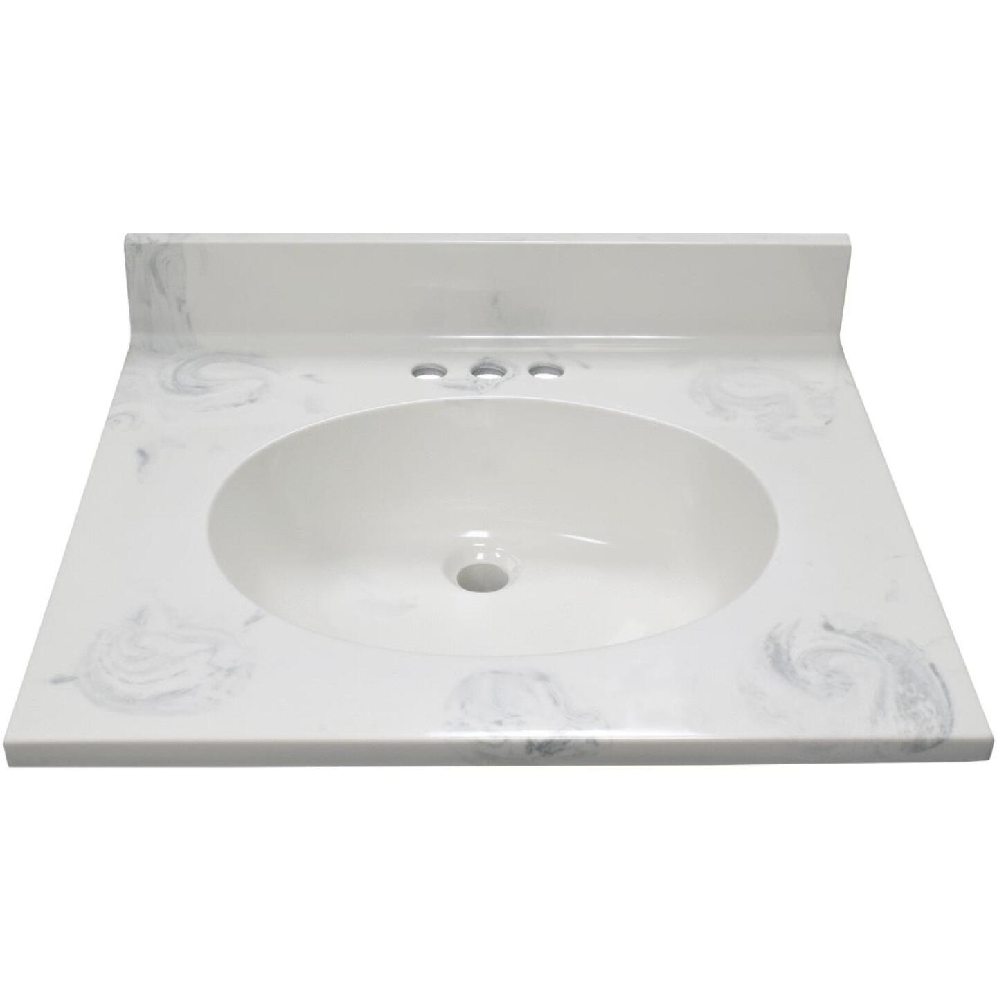 Modular Vanity Tops 25 In. W x 22 In. D Marbled Dove Gray Cultured Marble Vanity Top with Oval Bowl Image 2