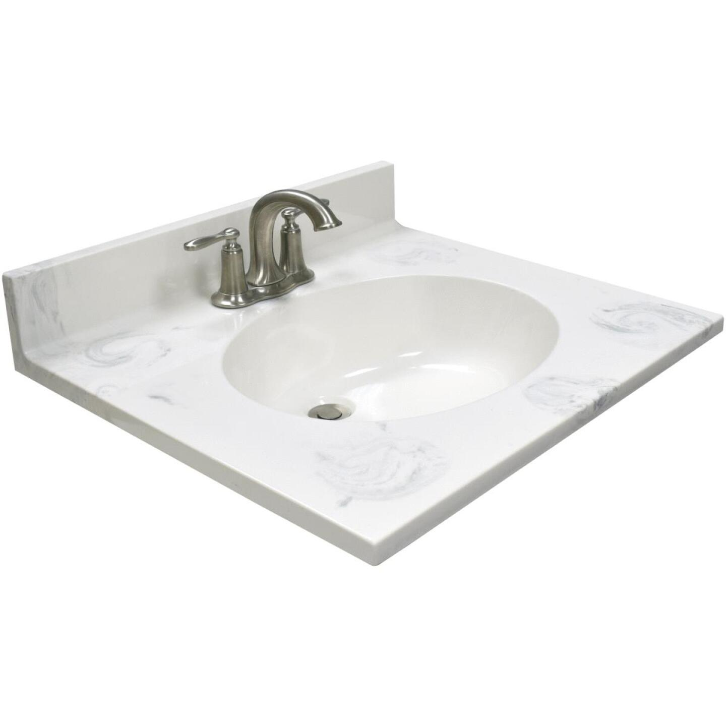 Modular Vanity Tops 25 In. W x 22 In. D Marbled Dove Gray Cultured Marble Vanity Top with Oval Bowl Image 1