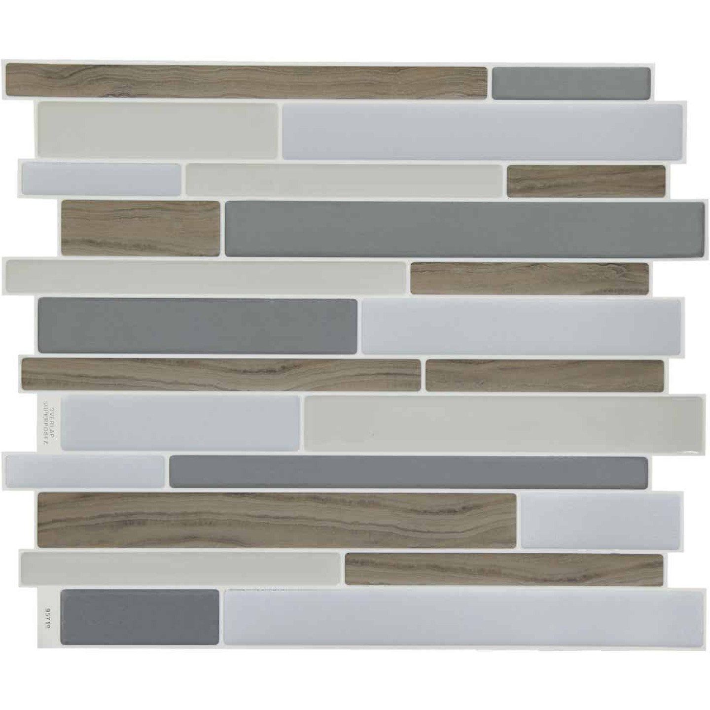 Smart Tiles Approx. 9 In. x 11 In. Glass-Like Vinyl Backsplash Peel & Stick, Milano Argento Mosaic (6-Pack) Image 1