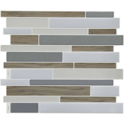 Smart Tiles Approx. 9 In. x 11 In. Glass-Like Vinyl Backsplash Peel & Stick, Milano Argento Mosaic