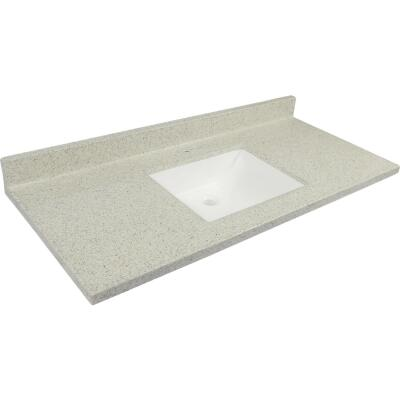 Modular Vanity Tops 49 In. W x 22 In. D Dune Cultured Marble Vanity Top with Rectangular Wave Bowl