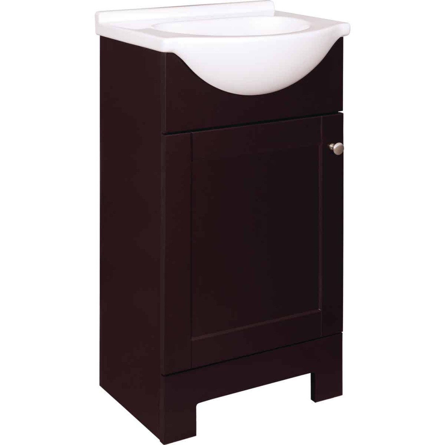 Continental Cabinets European Espresso 18 In. W x 33-1/2 In. H x 12-1/2 In. D Vanity with White Cultured Marble Top Image 1