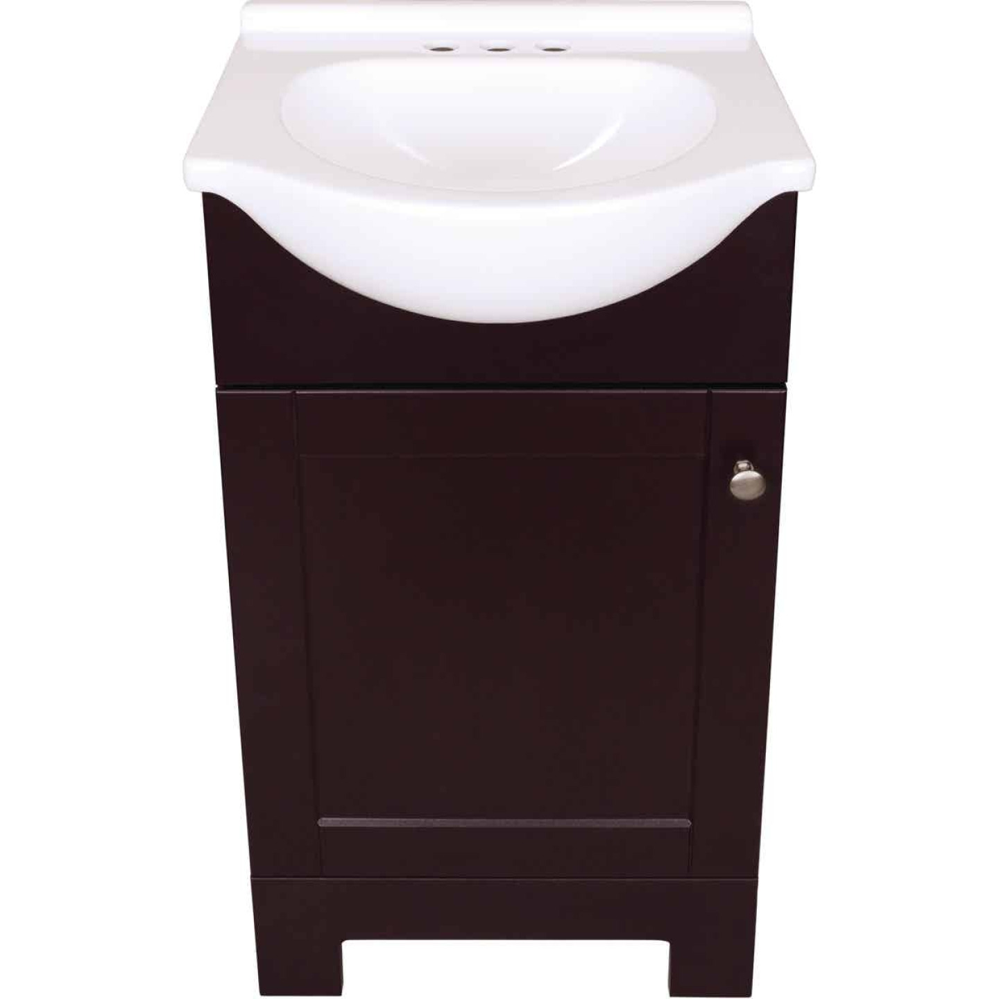 Continental Cabinets European Espresso 18 In. W x 33-1/2 In. H x 12-1/2 In. D Vanity with White Cultured Marble Top Image 2
