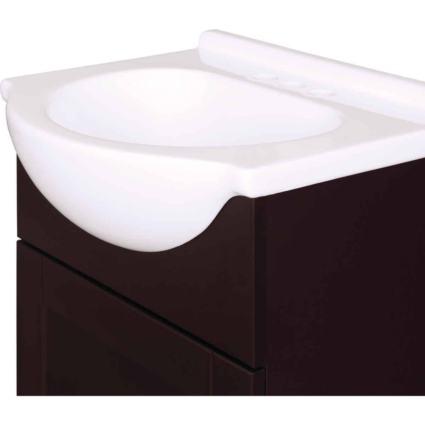 Continental Cabinets European Espresso 18 In. W x 33-1/2 In. H x 12-1/2 In. D Vanity with White Cultured Marble Top Image 5