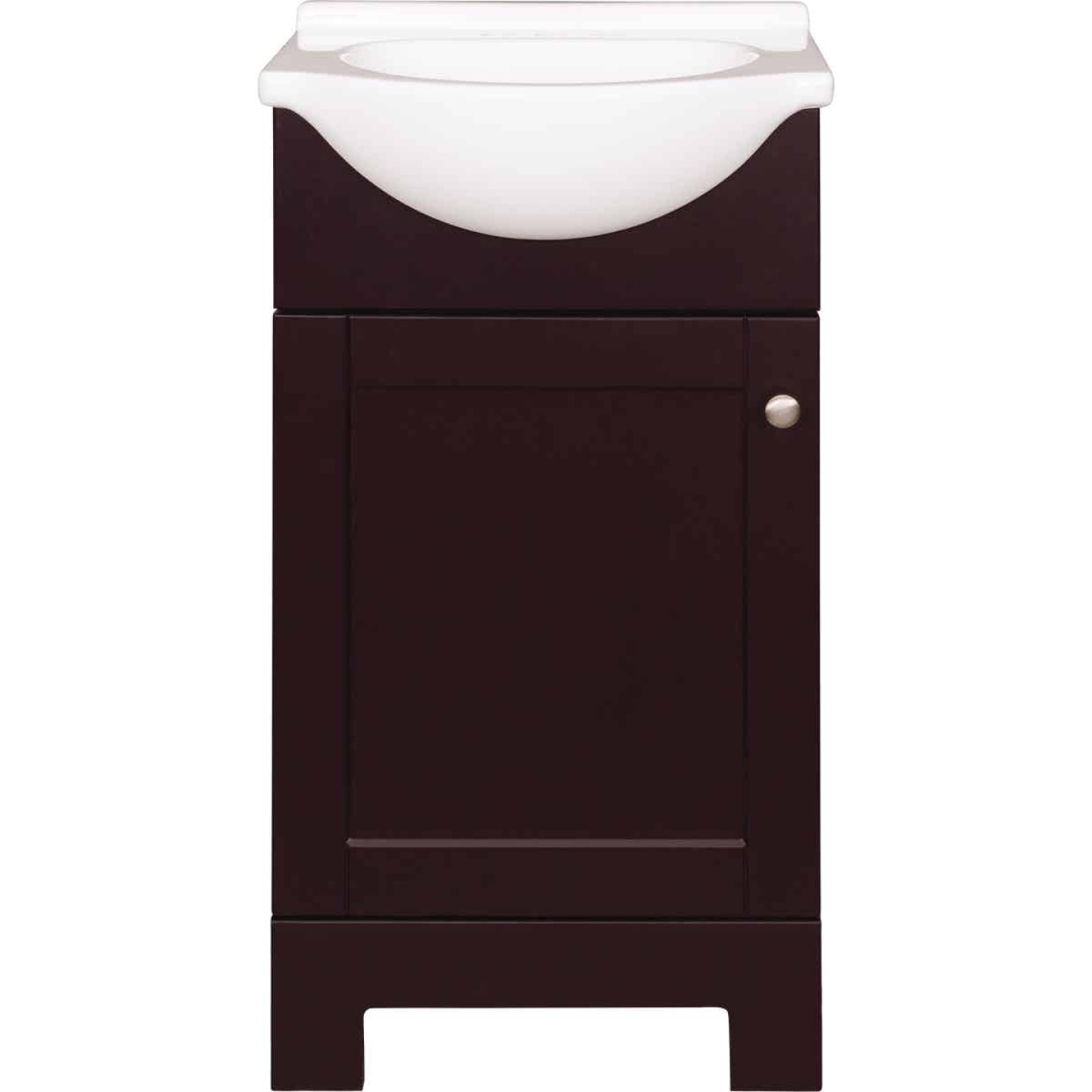 Continental Cabinets European Espresso 18 In. W x 33-1/2 In. H x 12-1/2 In. D Vanity with White Cultured Marble Top Image 6