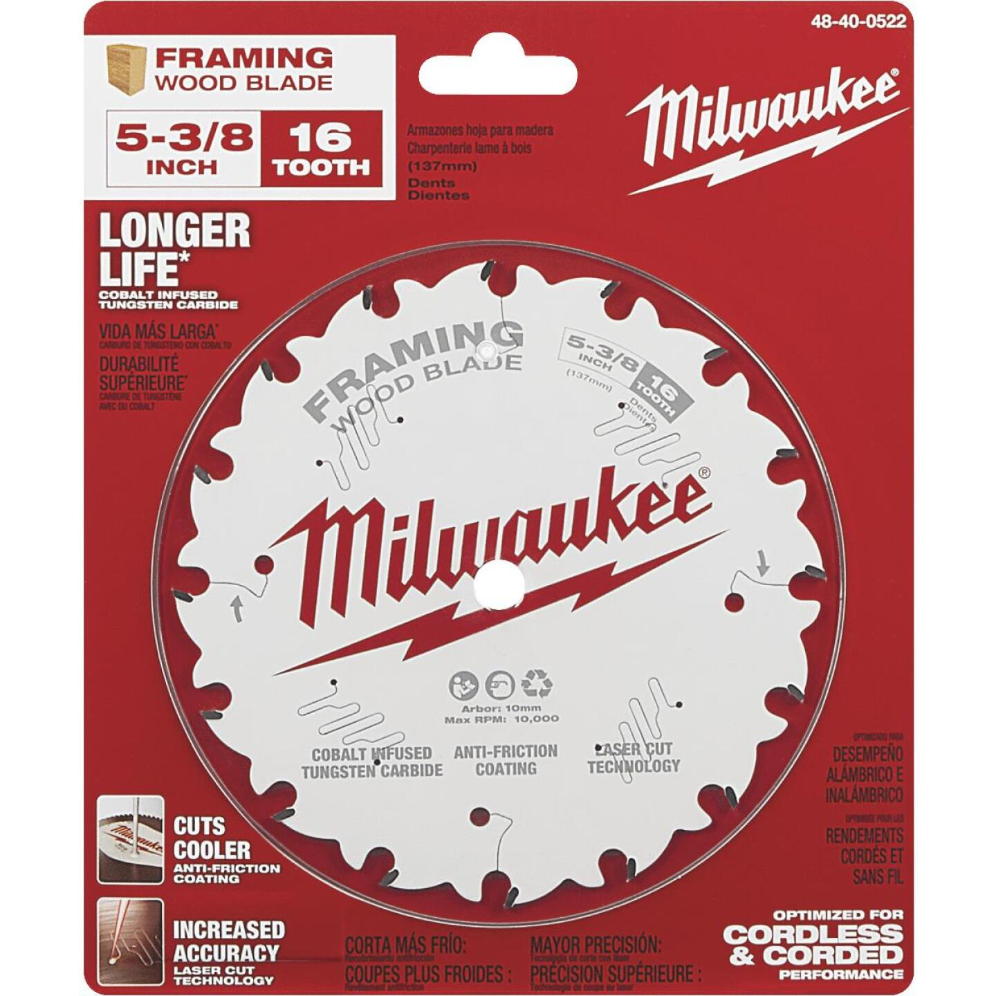 Milwaukee 5-3/8 In. 16-Tooth Framing Circular Saw Blade Image 2