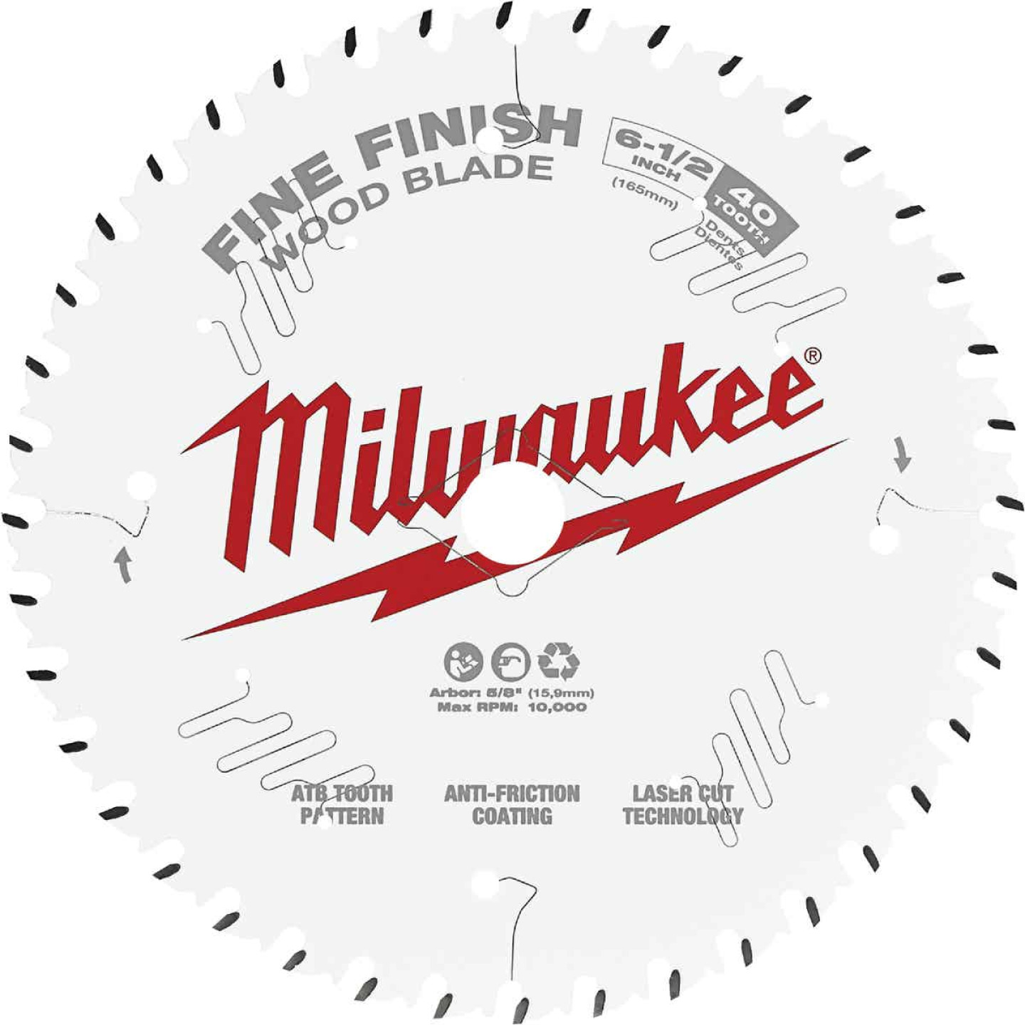 Milwaukee 6-1/2 In. 40-Tooth Fine Finish Circular Saw Blade Image 1