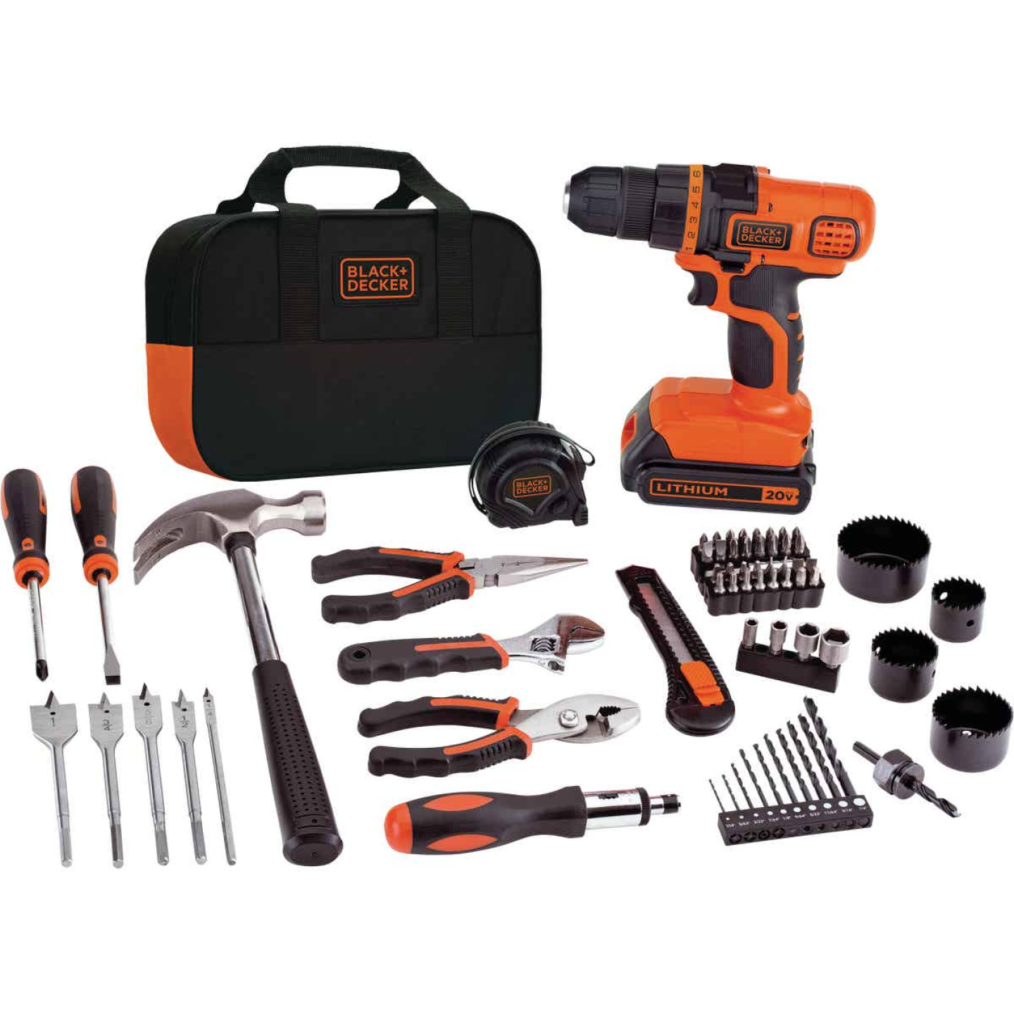 Black & Decker 20 Volt MAX Lithium-Ion 3/8 In. Cordless Drill Project Kit (68-Piece) Image 1