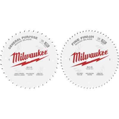 Milwaukee 10 In. 40-Tooth General Purpose & 60-Tooth Fine Finish Wood Circular Saw Blade (2-Pack)