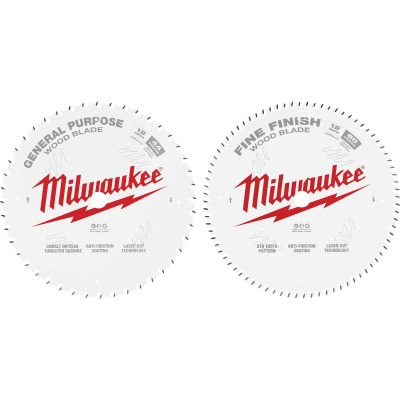 Milwaukee 12 In. 44-Tooth General Purpose & 80-Tooth Fine Finish Wood Circular Saw Blade (2-Pack)