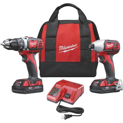 Milwaukee 2-Tool M18 Lithium-Ion Compact Drill/Driver & Impact Driver Cordless Tool Combo Kit