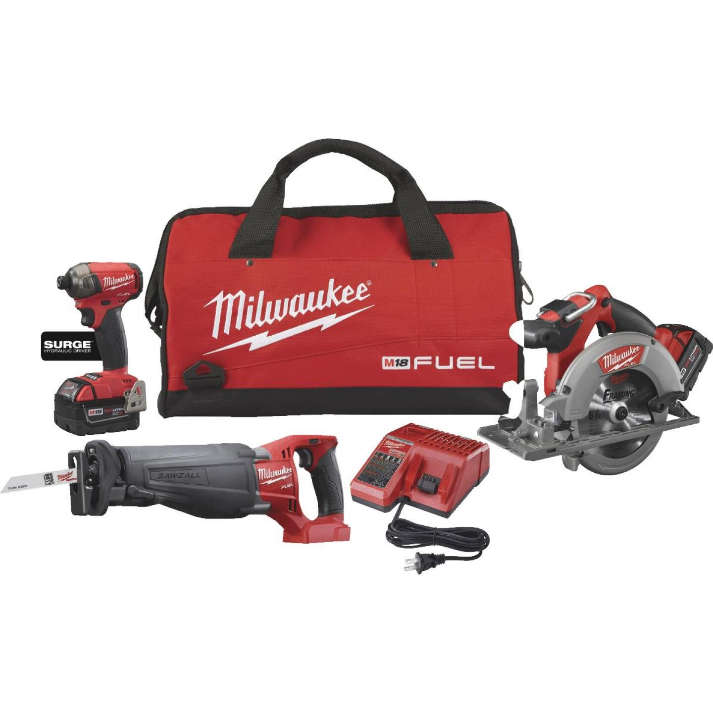 Milwaukee 3-Tool M18 FUEL Lithium-Ion Brushless Impact Driver, Sawzall & Circular Saw Cordless Tool Combo Kit Image 1