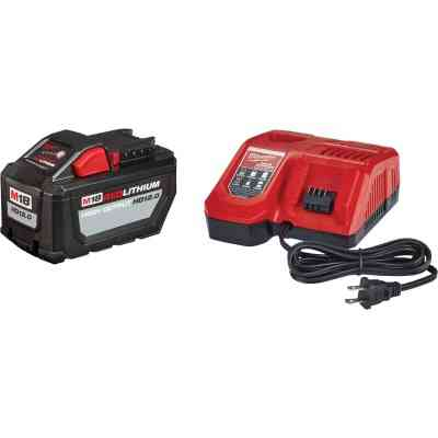 Milwaukee M18 REDLITHIUM High Output 18 Volt Lithium-Ion 12.0 Ah Tool Battery w/M18 & M12 Rapid Charger