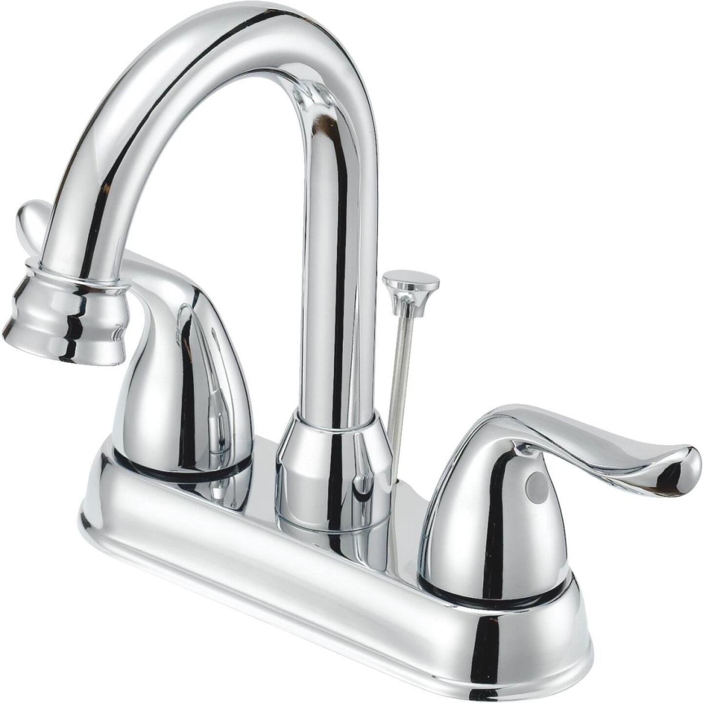 Home Impressions Chrome 2-Handle Lever 4 In. Centerset Hi-Arc Bathroom Faucet with Pop-Up Image 1