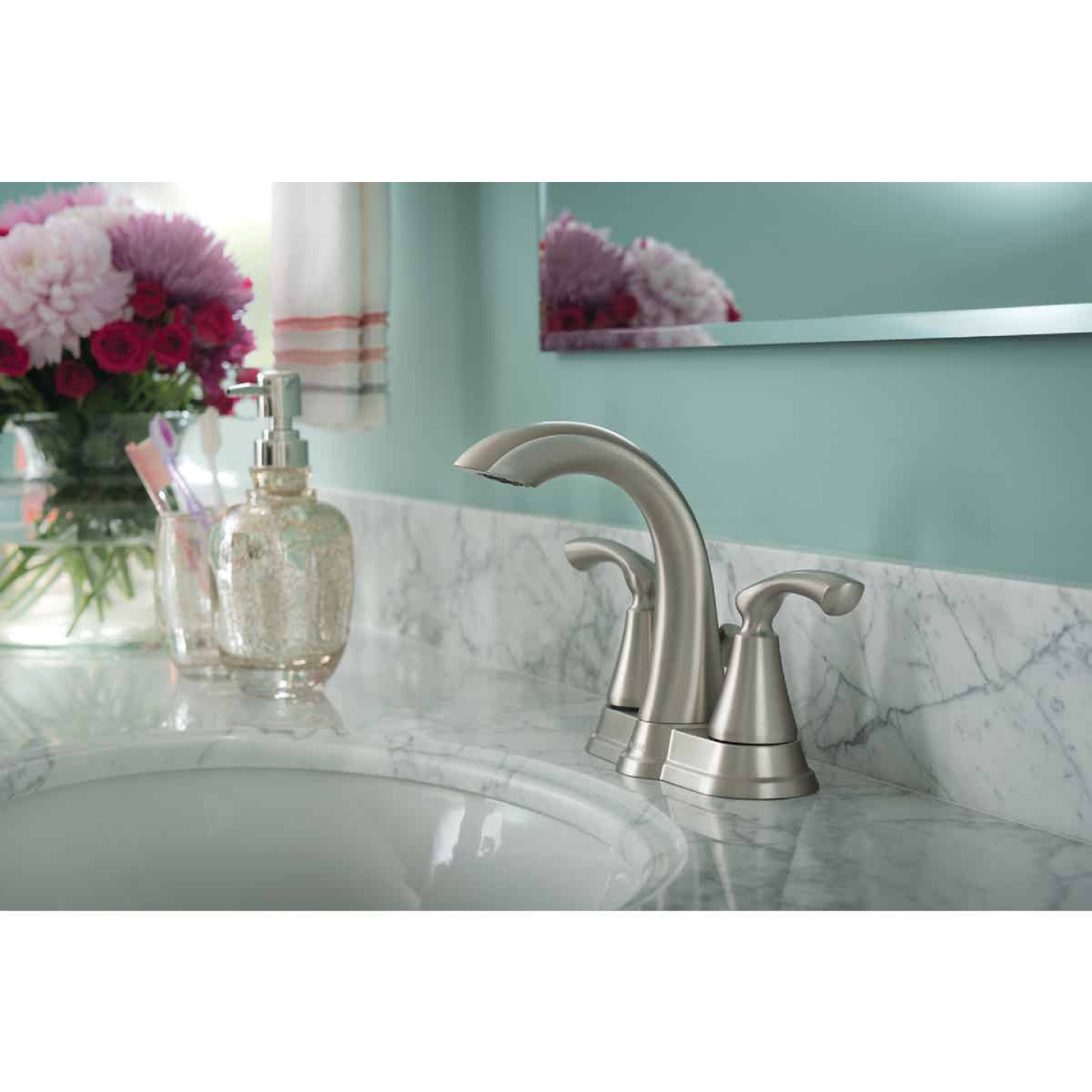 Moen Tiffin Brushed Nickel 2-Handle Lever 4 In. Centerset Bathroom Faucet Image 2