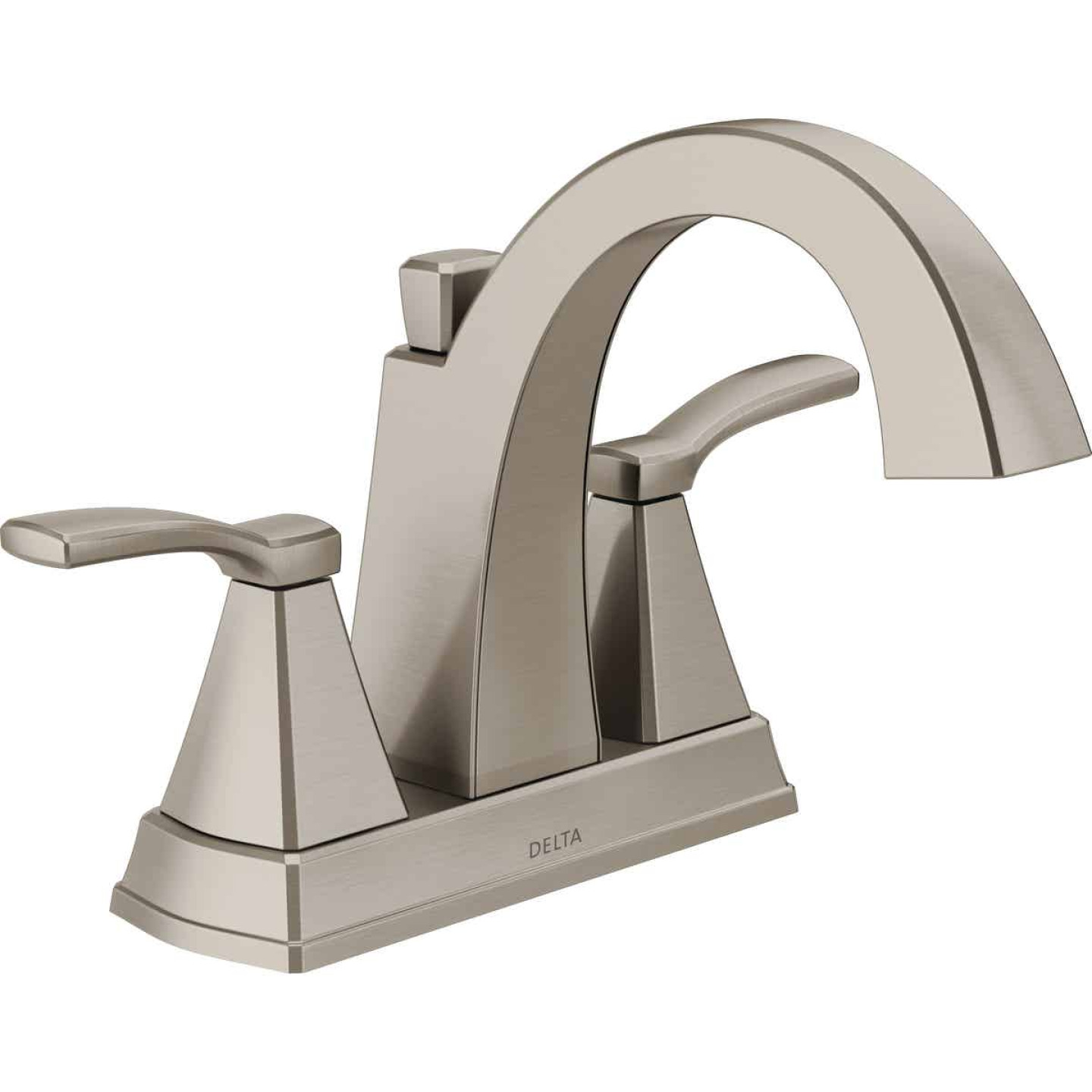Delta Flynn Stainless 2-Handle Lever 4 In. Centerset Bathroom Faucet with Pop-Up Image 1